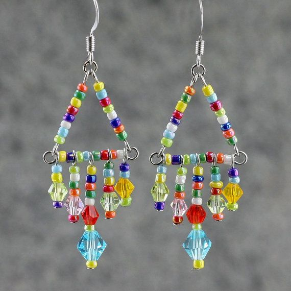Corlorful Crystal glass triangle dangle Earrings by AniDesignsllc, $12.95