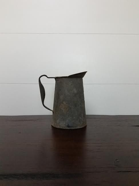 Small Vintage Galvanized Pitcher