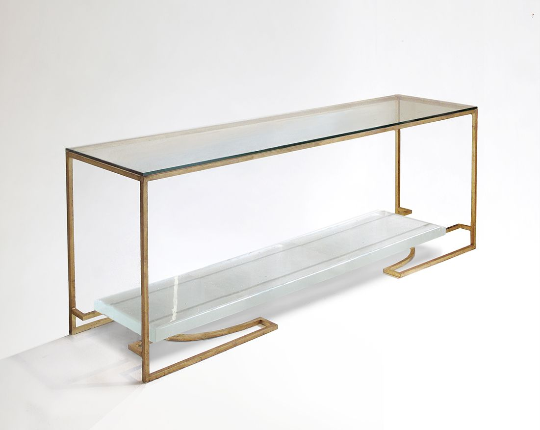 Cast Glass Cd Console Table 60lx14dx32h Codor Design