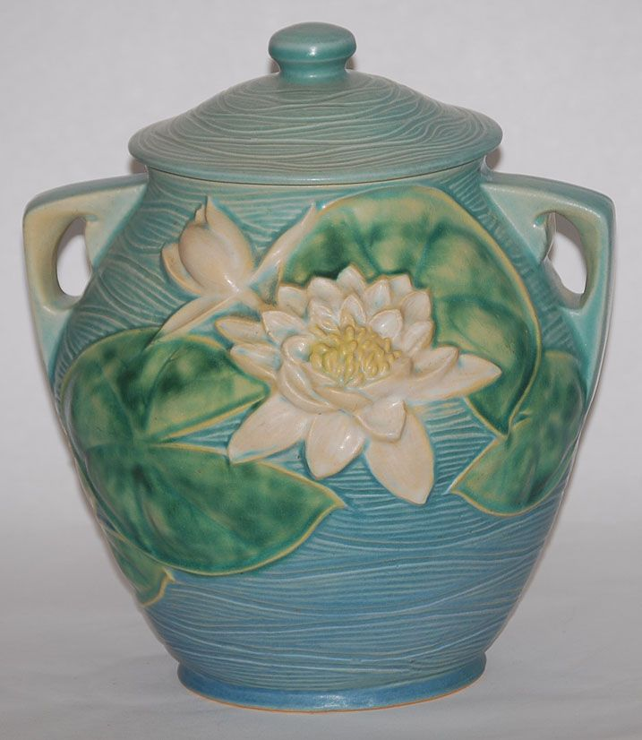 Roseville Pottery Roseville Pottery Water Lily Blue Cookie Jar For