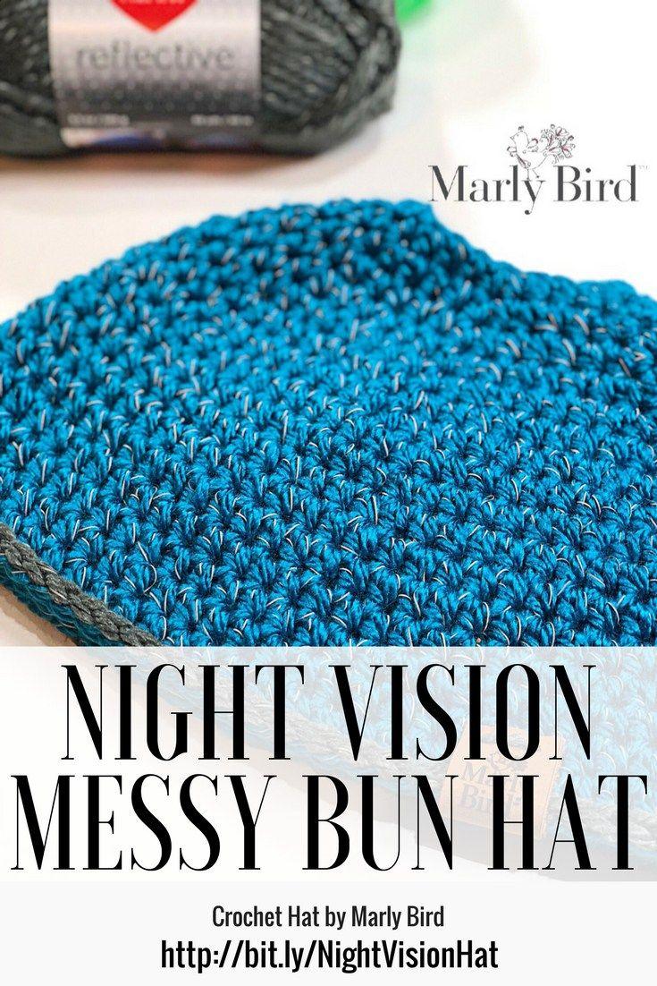FREE Crochet Messy Bun Hat using Red Heart Reflective Yarn | Crochet ...