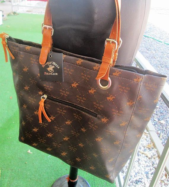 221a38f8d595 Beverly Hills Polo Club Purse Tote Medium Size New With Tag Brown Top  Handle Zip Closure Birthday Gift DETAILS  BRAND  BHPC Beverly Hills Polo  Club by Ralph ...