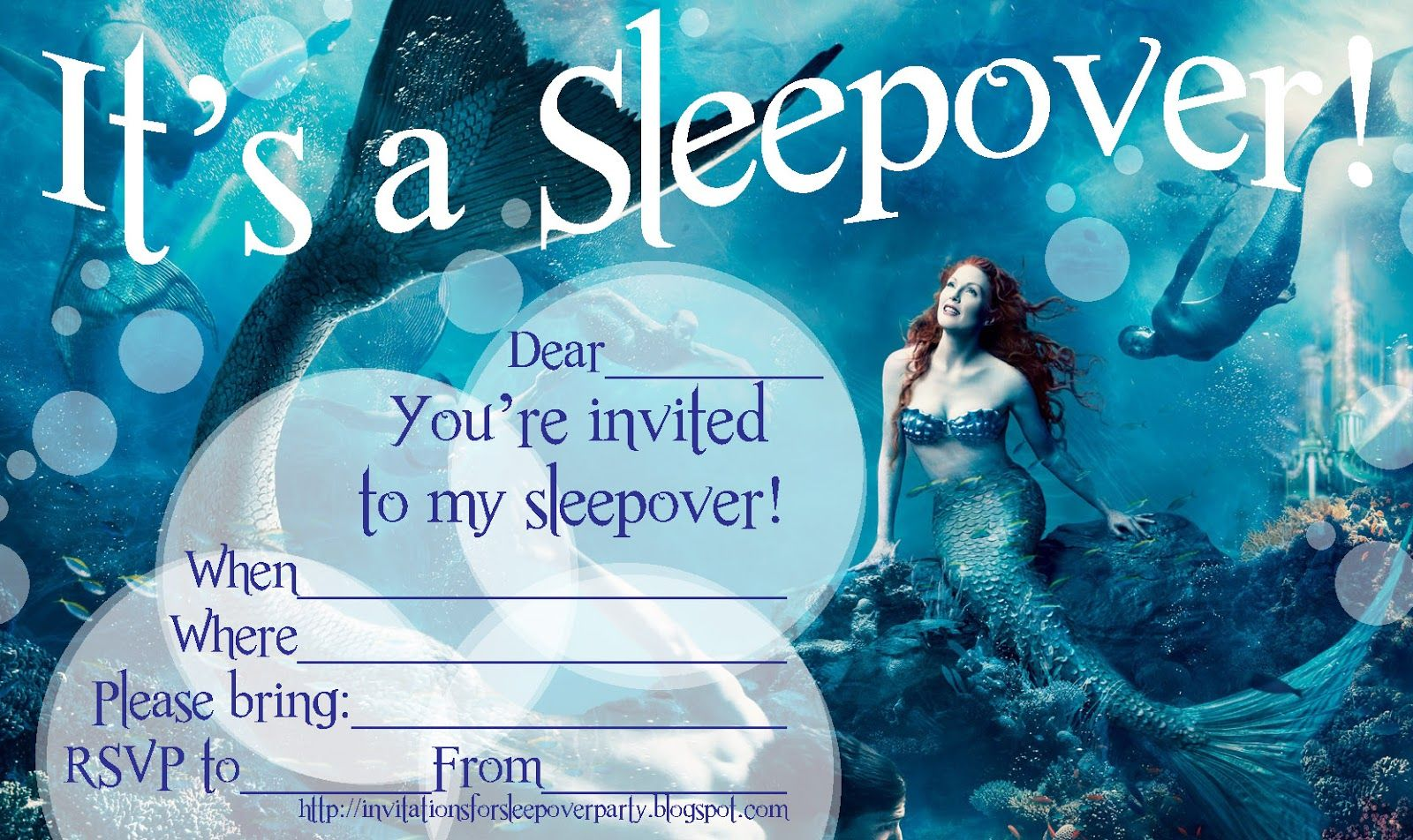 mermaid+sleepoverinvitation+fill+in+the+blanks.jpg (1600×952)   Sleepover  party, Birthday sleepover ideas, Sleepover invitations