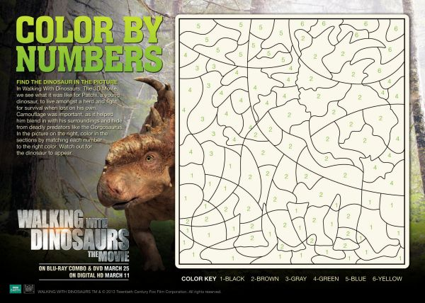 Coloring Pages Using Numbers : Walking with dinosaurs color by numbers printable coloring pages