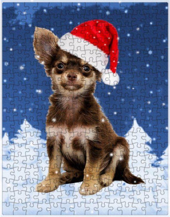 Chihuahua Dog Christmas Jigsaw Puzzle with Photo Tin Christmas