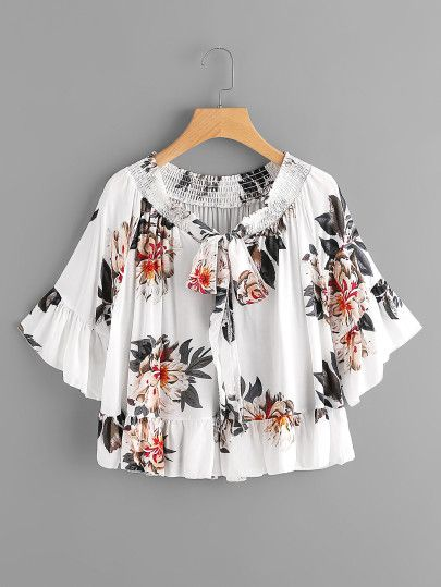 Romwe Womens Fall Boho Plus Fringe Tie Neck Embroidered Flower Long Sleeve Blouse Top