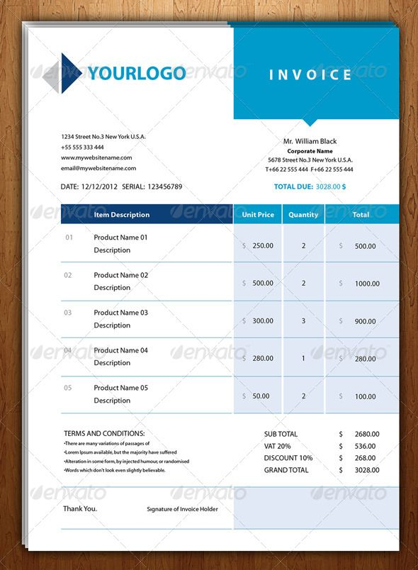 New Blue Invoice Template Fonts And Business Proposal