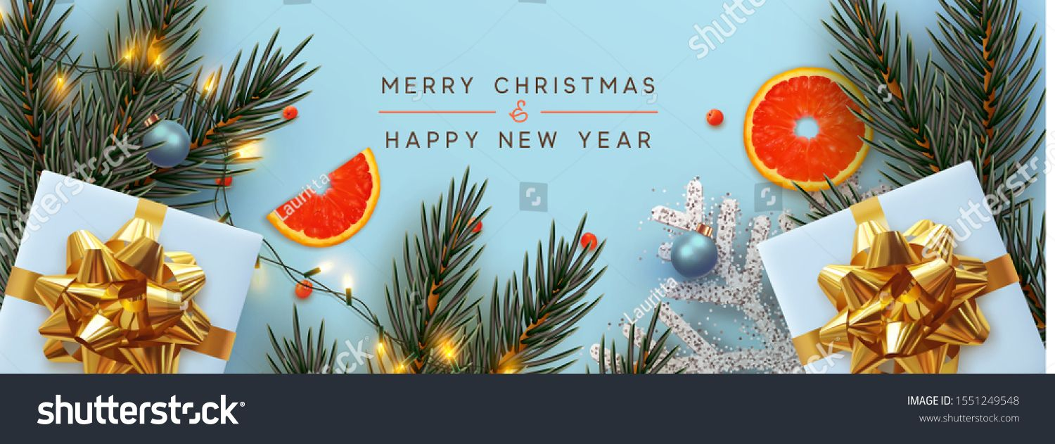 Holiday Background Merry Christmas And Happy New Year Xmas Design With Realistic Festive Holiday Background Merry Christmas And Happy New Year Merry Christmas