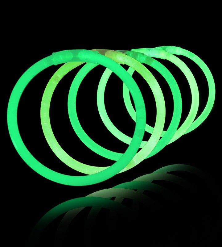 8 Inch Glowstick Bracelets - Green - Save 10% off sitewide at GlowUniverse.com with code PIN10