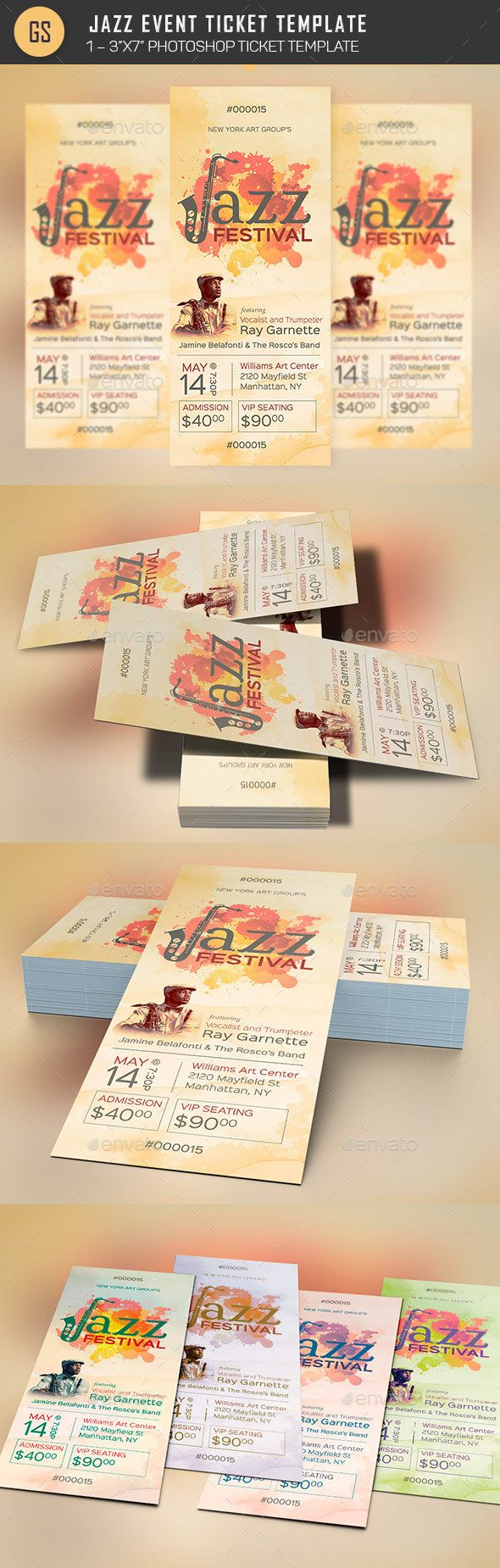 Jazz Event Ticket Template PSD Inspiration Gala O Download