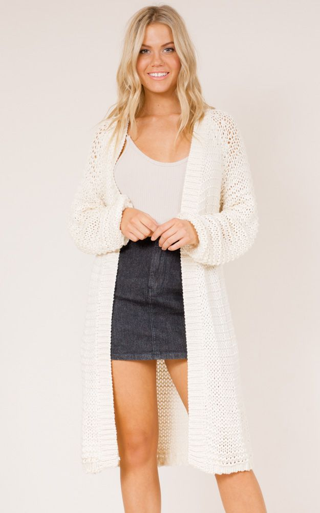 Shadow Play Cardigan in off white