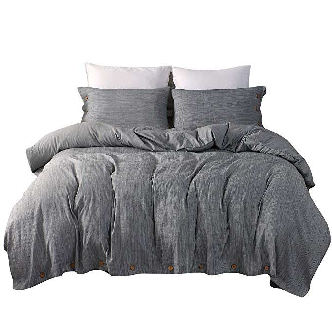 Amazon Com Jellymoni Grey Duvet Cover Set 3 Piece Luxury Button Bedding Set Ultra Soft Breathable Hypoallergenic Gray Duvet Cover Grey Duvet Duvet Cover Sets