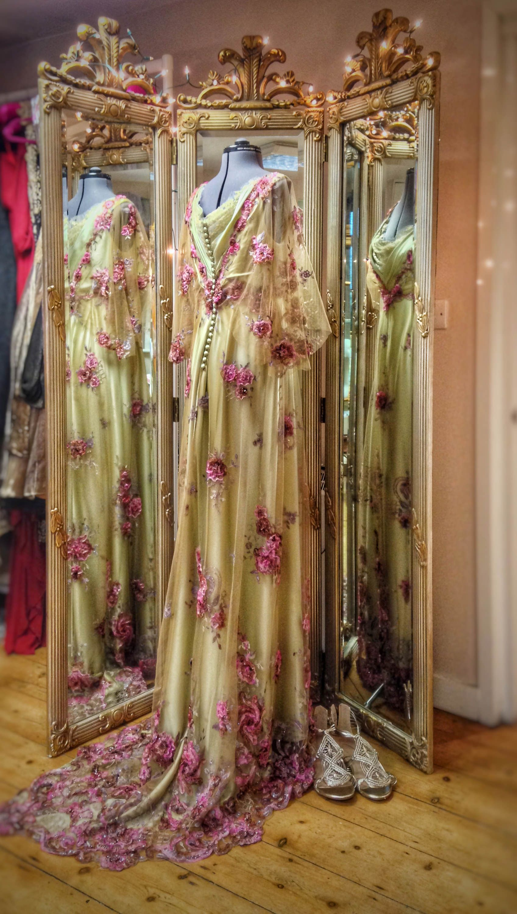 Belle epoque inspired floral wedding dress or evening gown