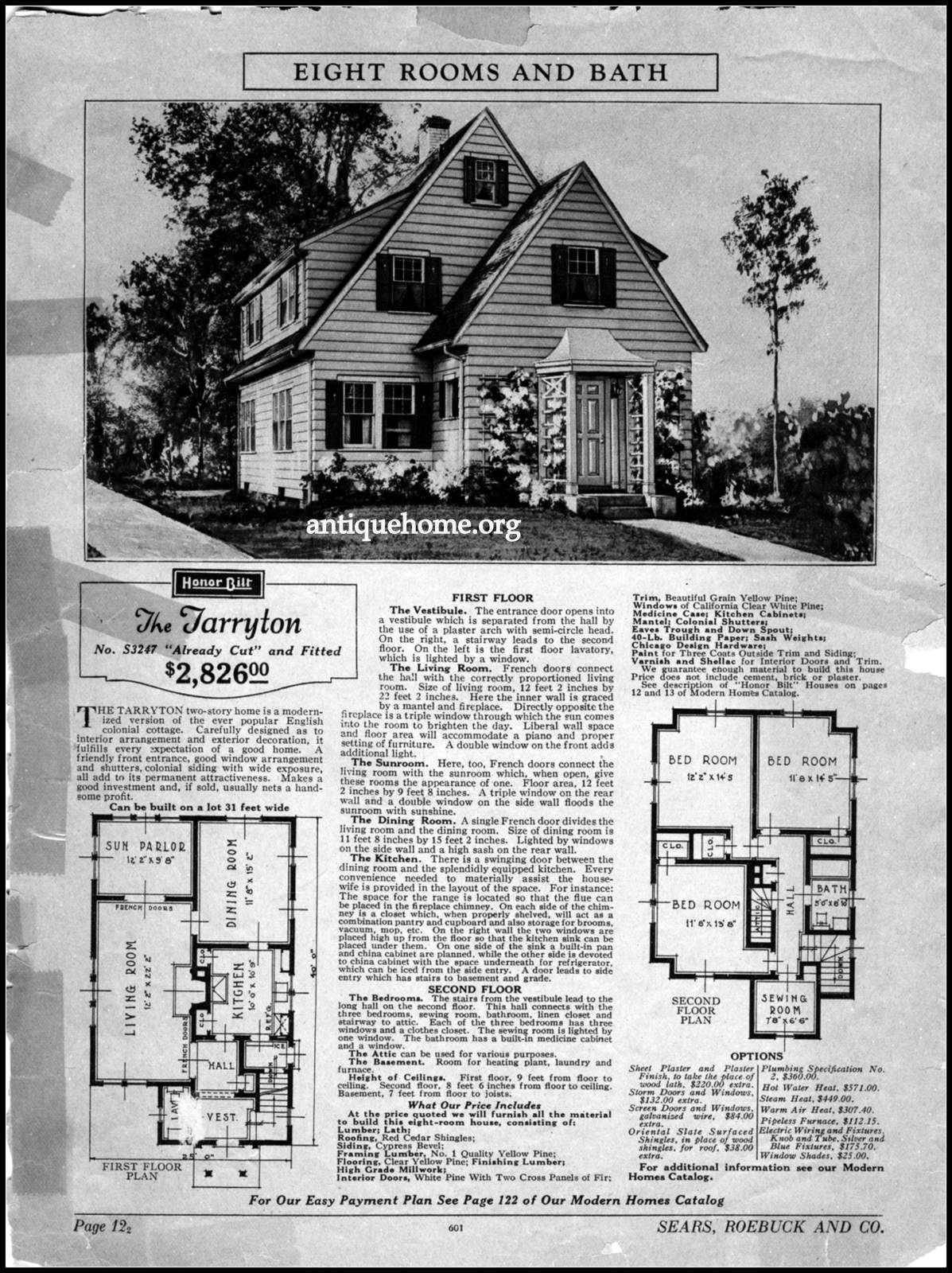 Sears Roebuck House The Tarryton House Plans With Pictures Vintage House Plans House Floor Plans