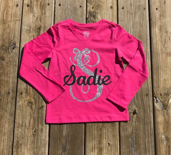 525d88826 Little girls monogram shirts, vinyl shirts, custom shirts, initial ...