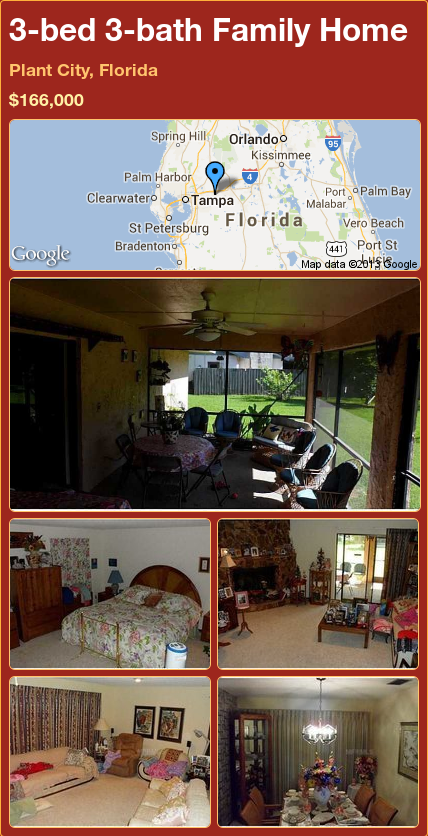 3-bed 3-bath Family Home in Plant City, Florida ►$166,000 #PropertyForSale #RealEstate #Florida http://florida-magic.com/properties/77332-family-home-for-sale-in-plant-city-florida-with-3-bedroom-3-bathroom