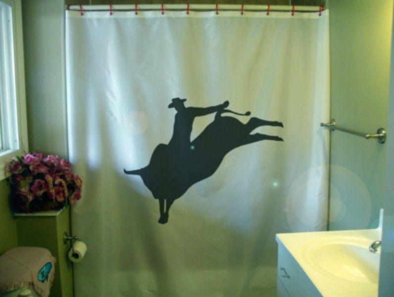 Bull Rider Shower Curtain Rodeo Cowboy Ride Buck Horn Wild West America Bathroom Decor Kids Bath