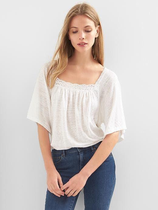 a09e8b3e212f52 Gap Womens Linen Bell-Sleeve Top White   Products   Tops, Women ...