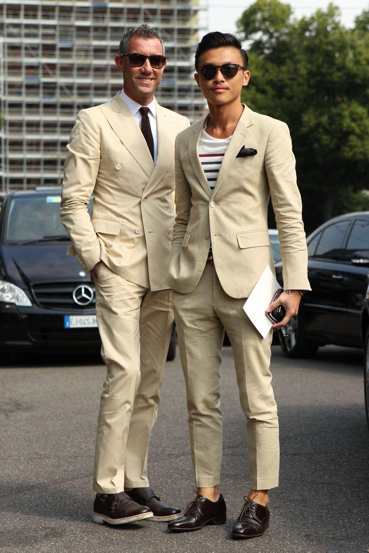 Love the striped T-shirt underneath WGSN street shot, Milan Men's ...