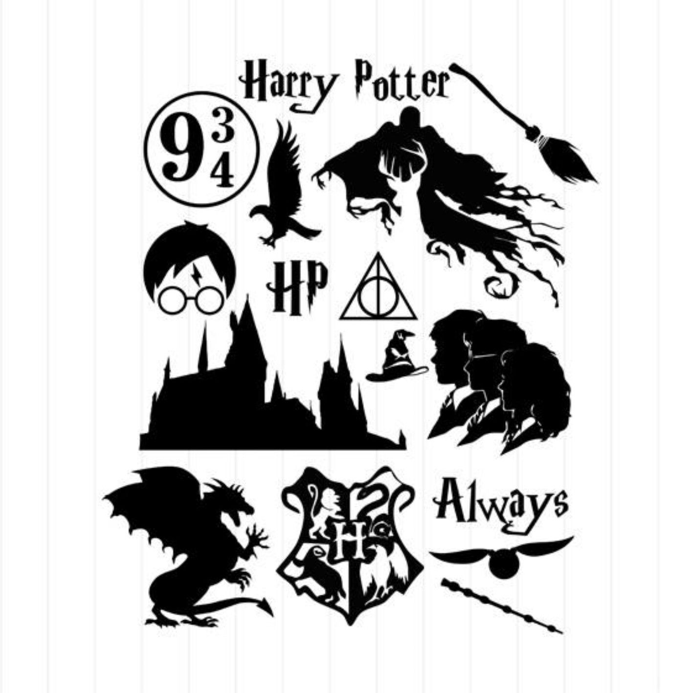 Pin By Kristen Woodie On Doodles Hp Harry Potter Stencils Harry Potter Clip Art Harry Potter Stickers [ 1417 x 1409 Pixel ]