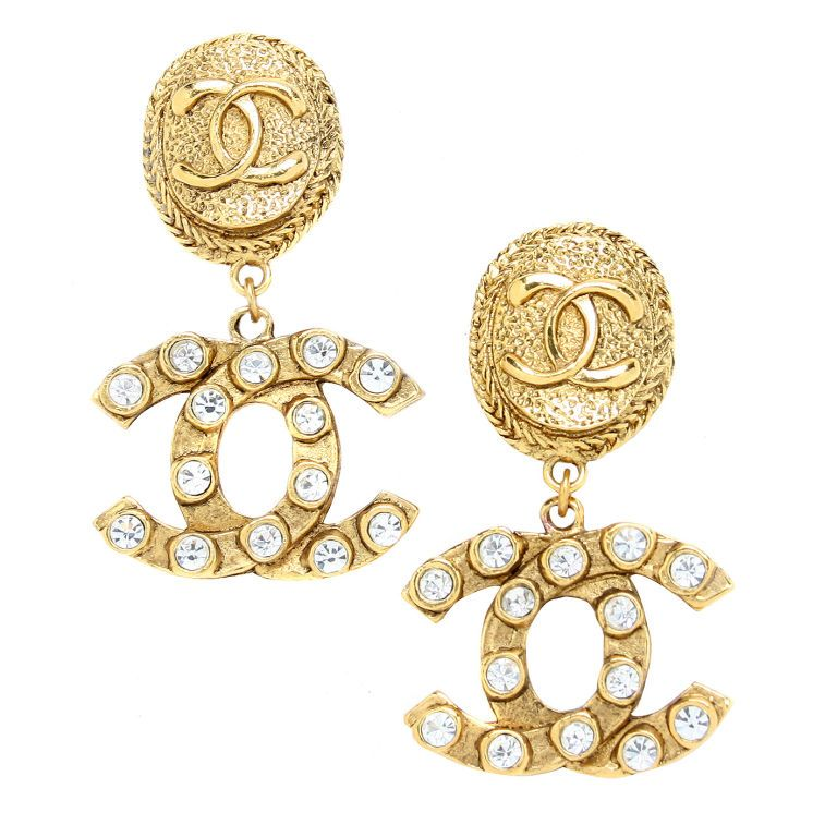 Chanel Logo Earrings With Rhinestones All Things Chanel
