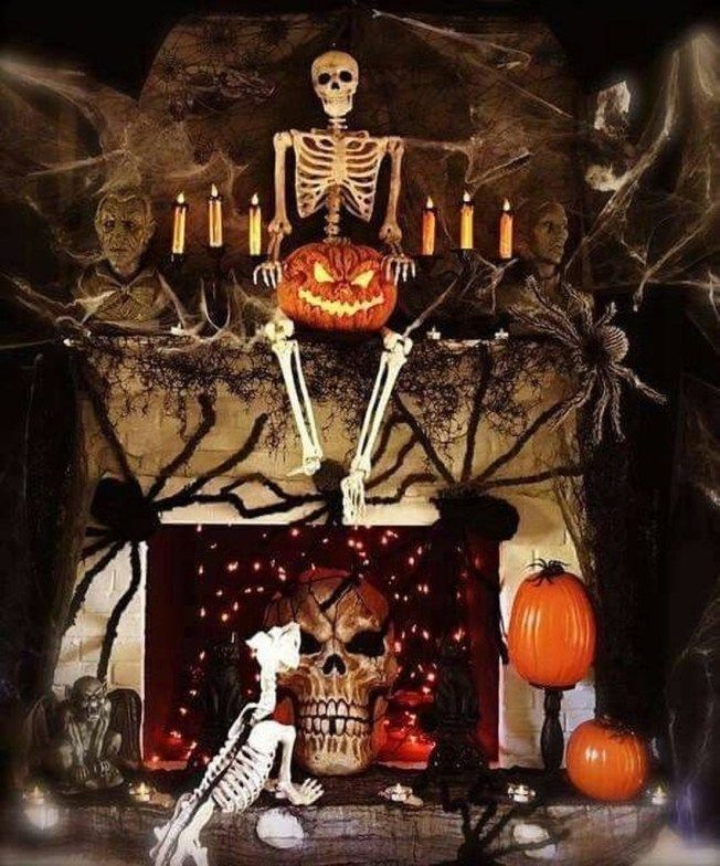 Elegantes Halloween  Kaminsimsdekor das Sie in Halloween 2019 probieren müssen 16    Halloween #eleganthalloweendecor