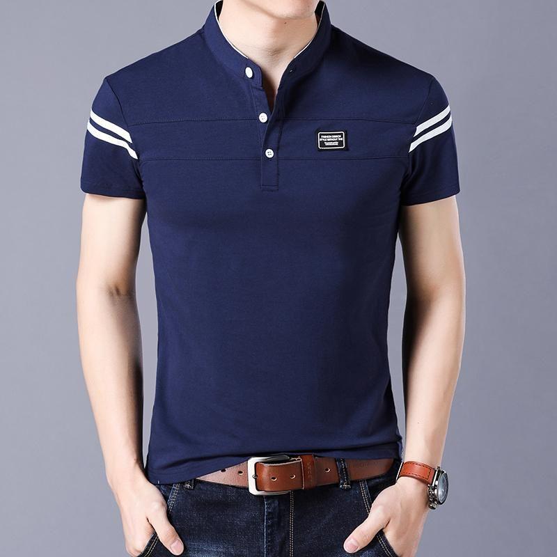 3609b0411 Short Sleeve Mandarin Collar T-Shirt Tops in 2019 | Office Men ...