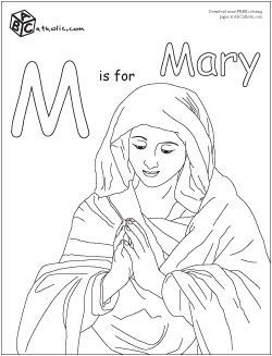 catholic kids coloring pages mary - photo#30