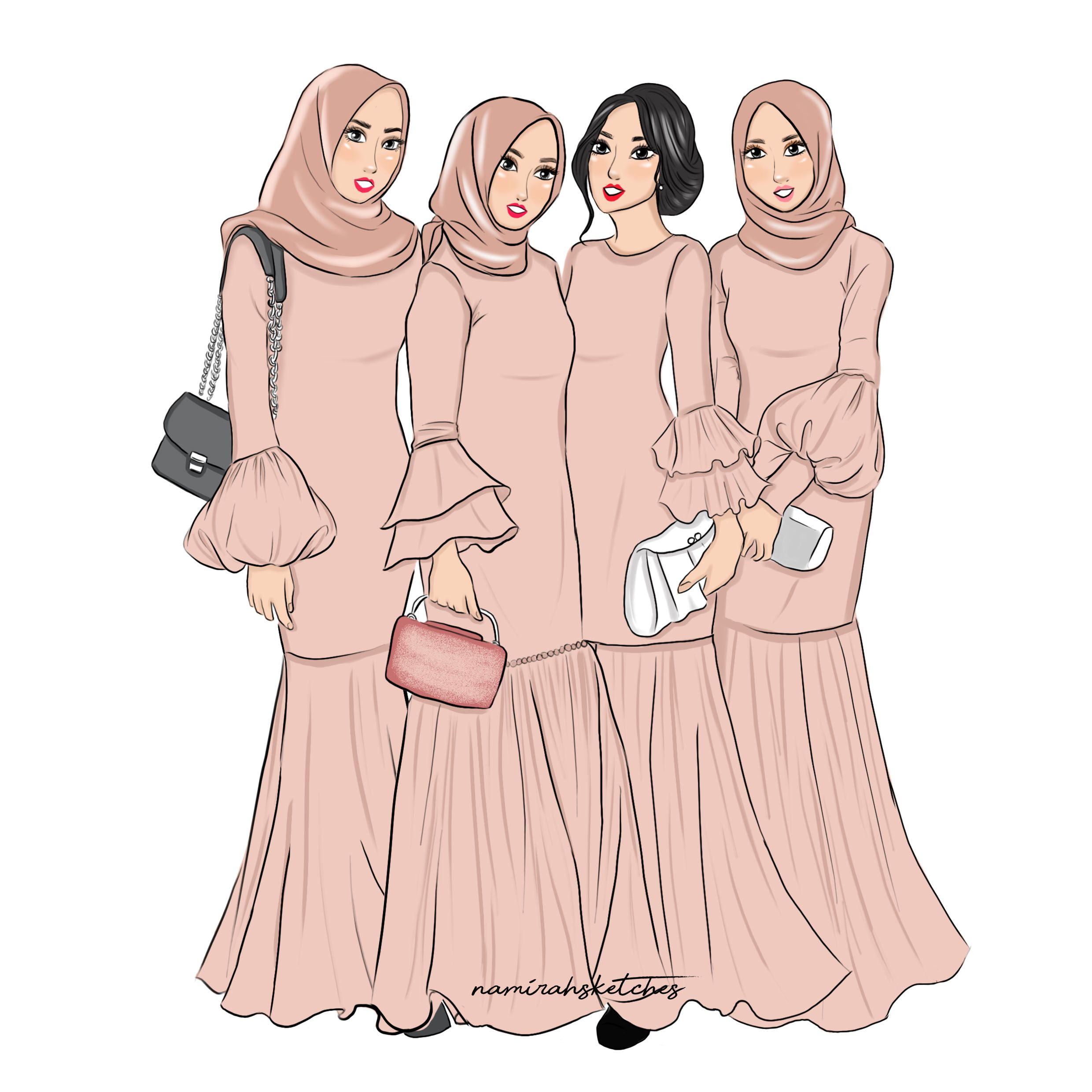 Bridemaids illustration by namirahsketches  Sketsa, Sketsa model