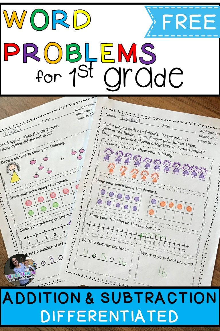 FREE 1st Grade Addition \u0026 Subtraction Word Problems - Differentiated    First grade math worksheets [ 1152 x 768 Pixel ]