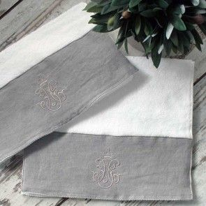 Small Snow White Towel With Embroidered Antique Grey Trim Lavish