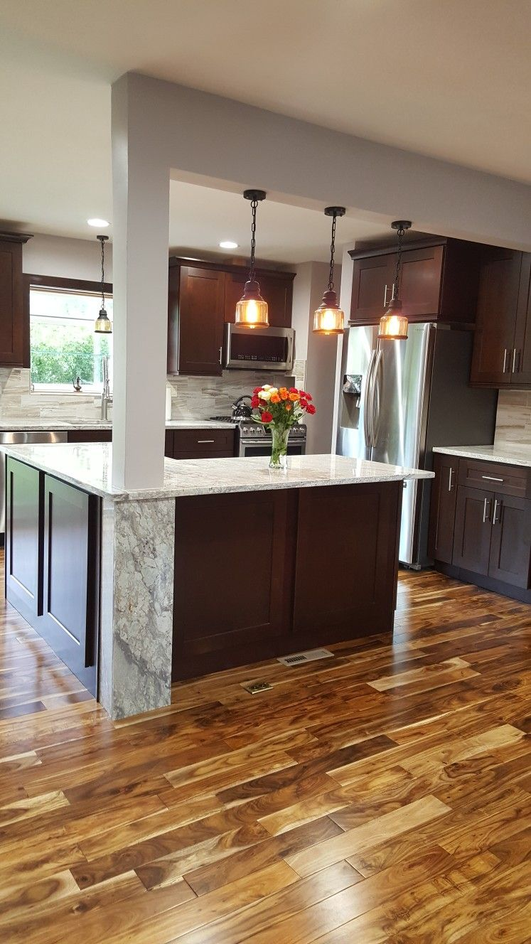 Superb L Shape Kitchen Island With Acacia Hardwood Floors Beam Interior Design Ideas Grebswwsoteloinfo