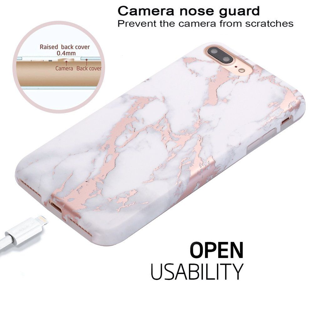 3576fa810c iPhone 7 Plus Case Shiny Rose Gold White Marble Design BAISRKE Clear Bumper  Matte TPU Soft Rubber Silicone Cover Phone Case for Apple iPhone 7 Plus