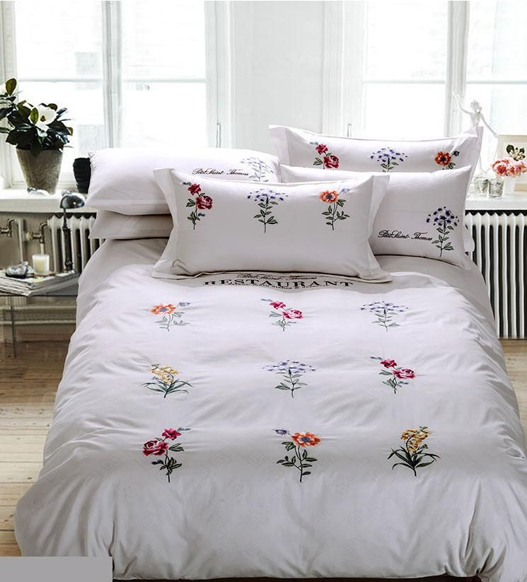 Flowers Leaf Embroidered Bedding Sets, White Bedding With Embroidered Flowers