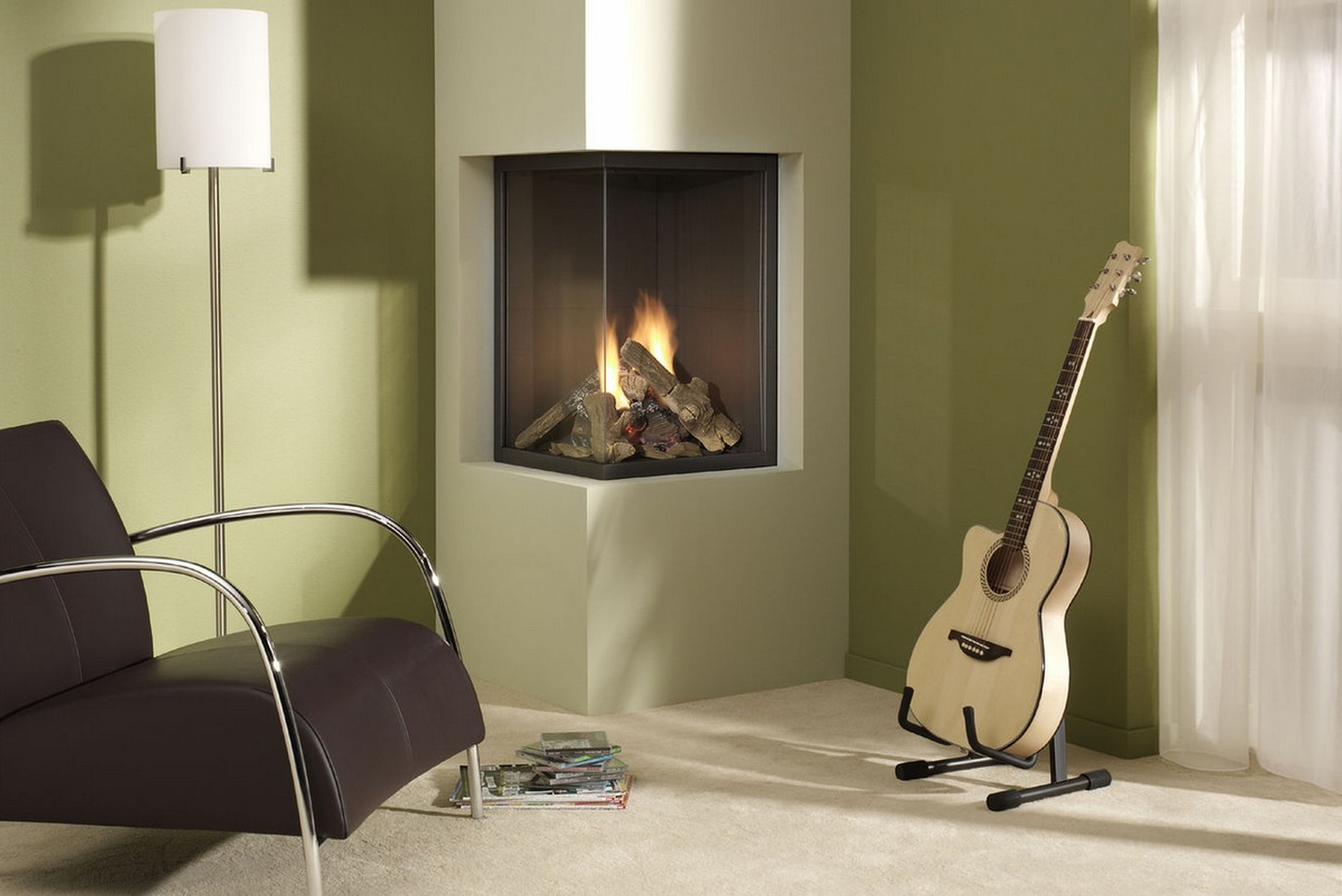 flue gas fireplace studio sided in duplex wall gazco verve fires balanced the fire efficiency tunnel double glass hole high