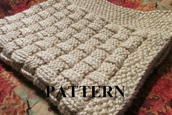 Basket Weave Pattern Knitting Afghan : Knitting pattern blanket basket weave
