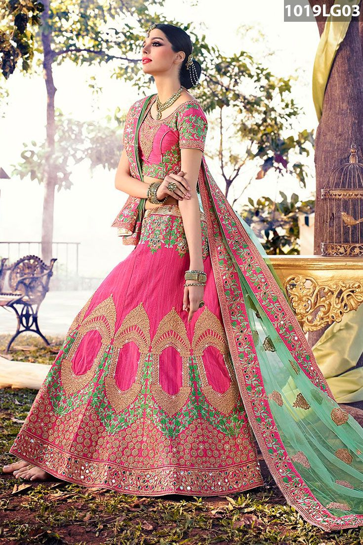 464cc03b68 Pink Art Silk Lehenga Choli With Dupatta is decorated with mirror effect,  stone, #zari, #resham #embroidery and patch border work. Pink art silk choli  and ...