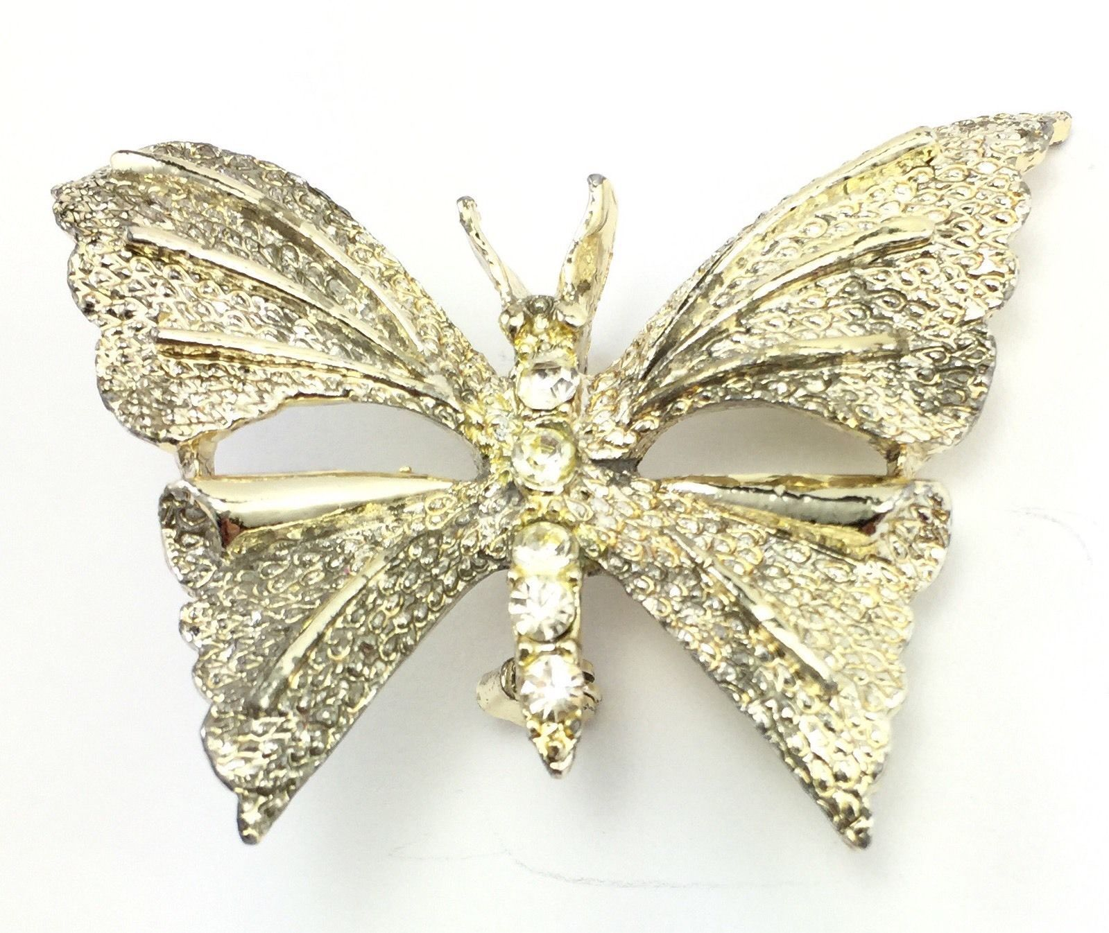 Vintage Gold Tone Rhinestone Butterfly Brooch Pin Jewelry Signed Gerrys