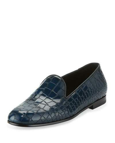 5185f5bb514 Crocodile-Embossed Leather Loafer