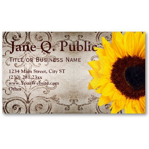 pretty sunflower swirls business card templates
