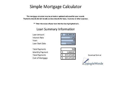 Printable Mortgage Calculator In Microsoft Excel  Mortgage