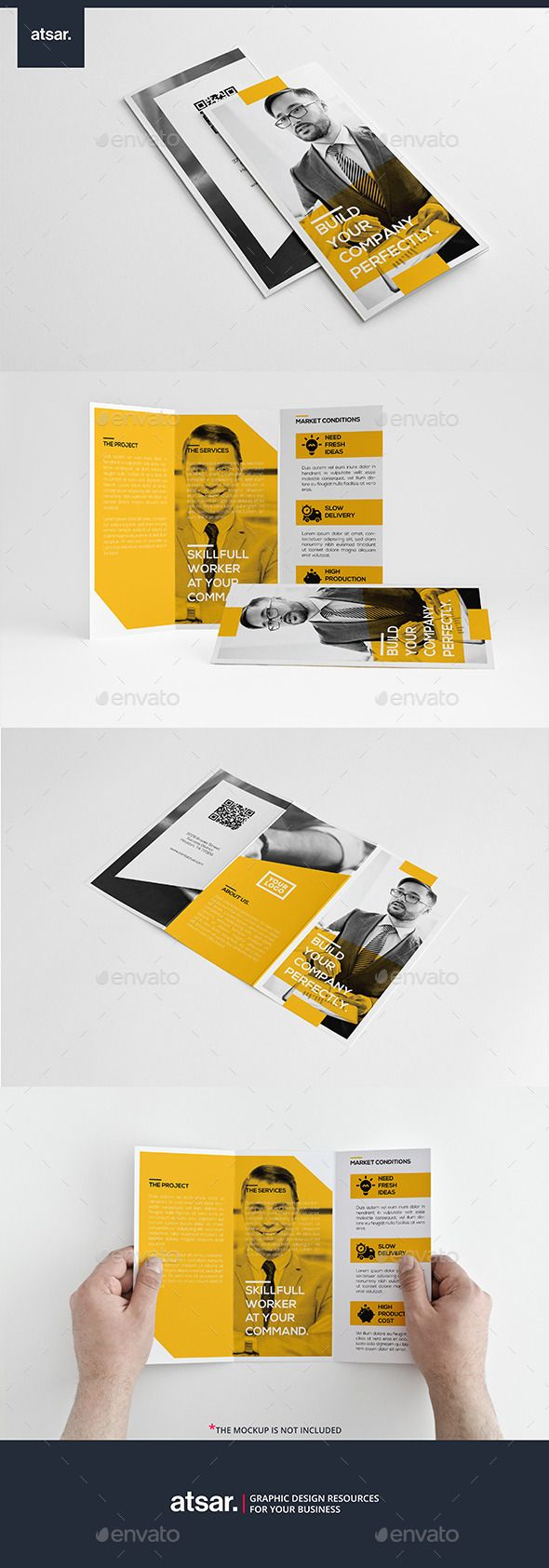 Yellow Simple Trifold | Tríptico, Diseño corporativo y Tarjetas de ...