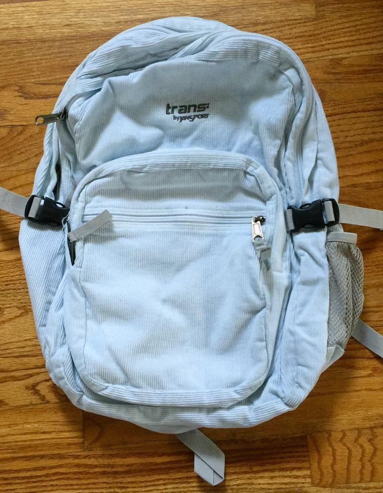 372530d15b Large Trans Jansport White Corduroy Double Zipper Backpack  JanSport   Backpack