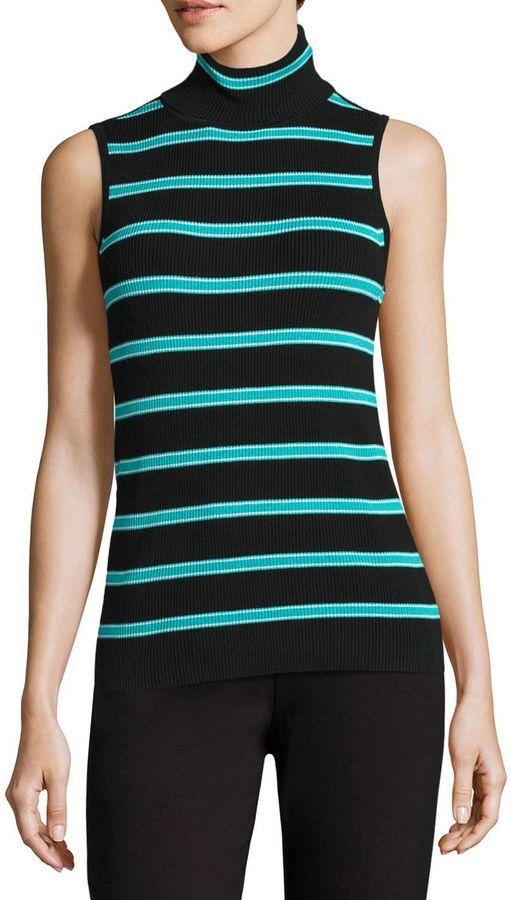 7d9c83755e80ca Liz Claiborne Sleeveless Turtleneck Stripe Pullover Sweater ...