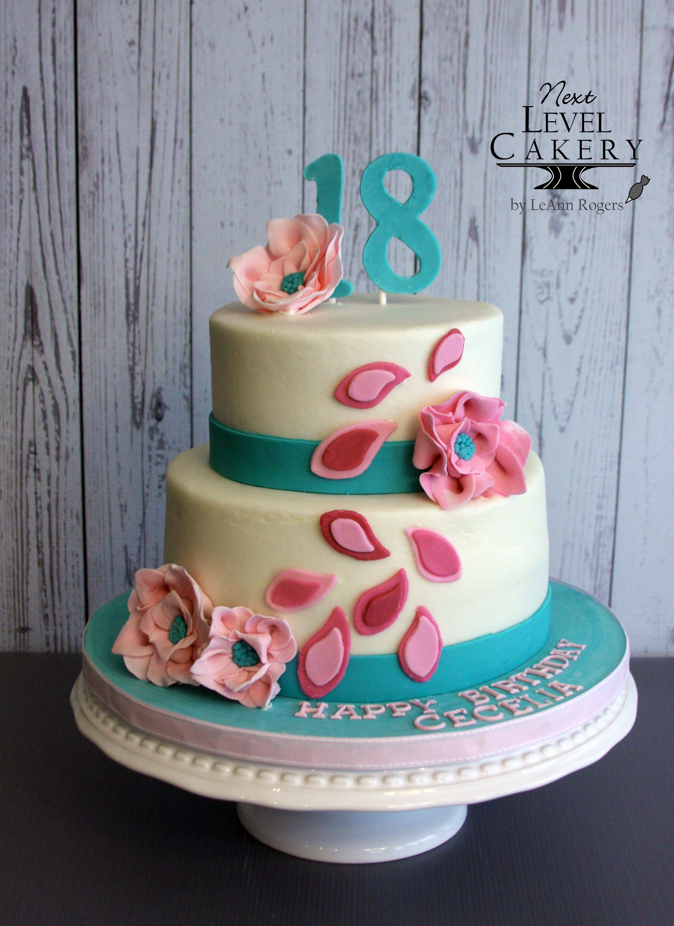 18th Girl Birthday Cake Teal And Pink Flowers Paisley Next