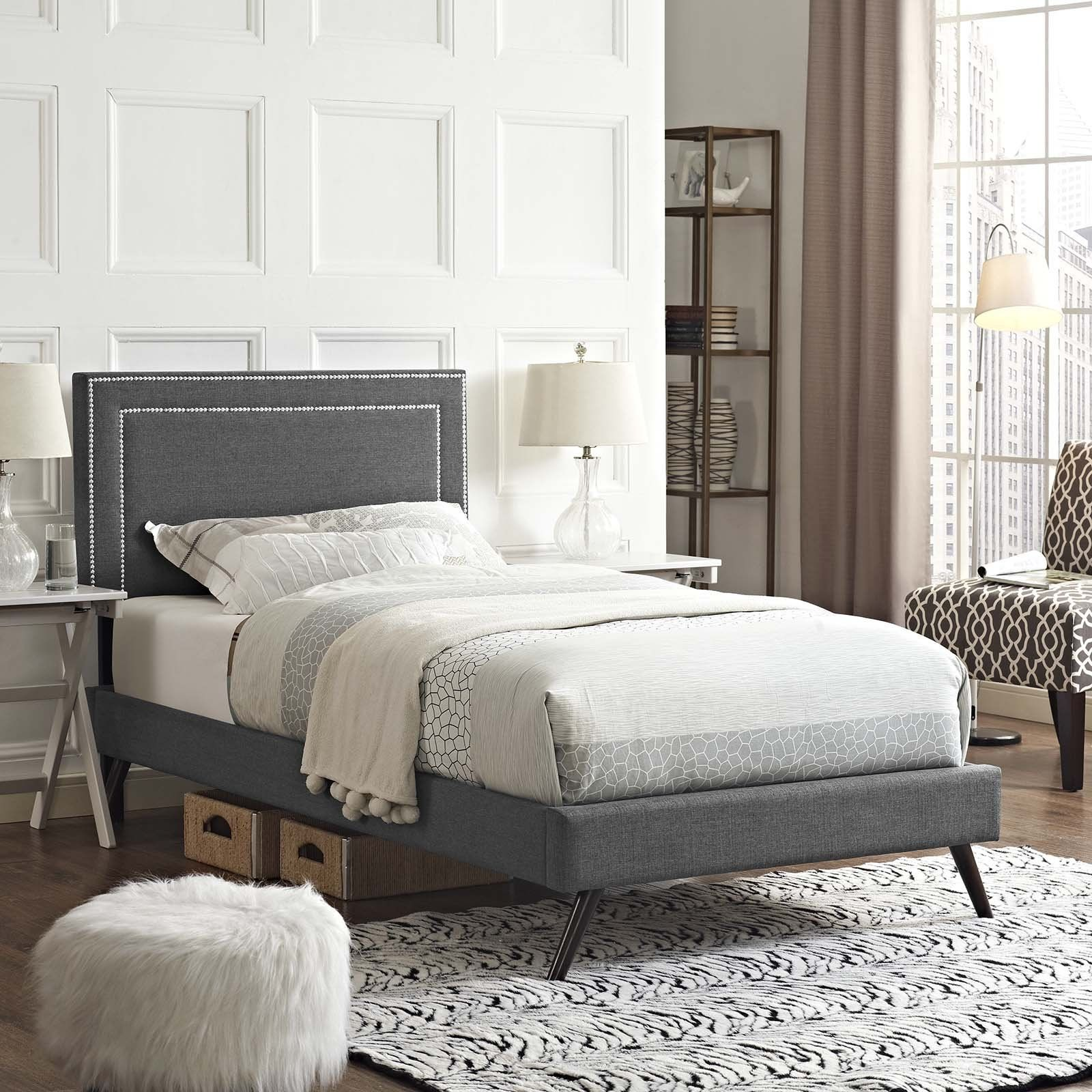 Dianne Twin Fabric Platform Bed with Round Splayed Legs WL