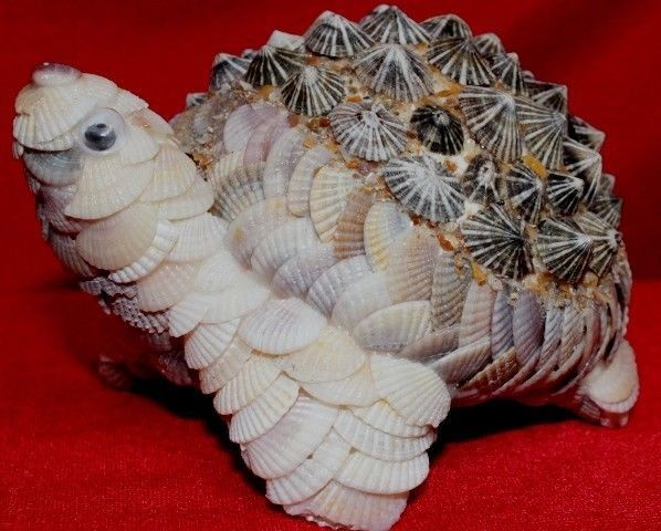 Turtle With Natural Sea Shell Figurine,Sculpture,Statue Animal