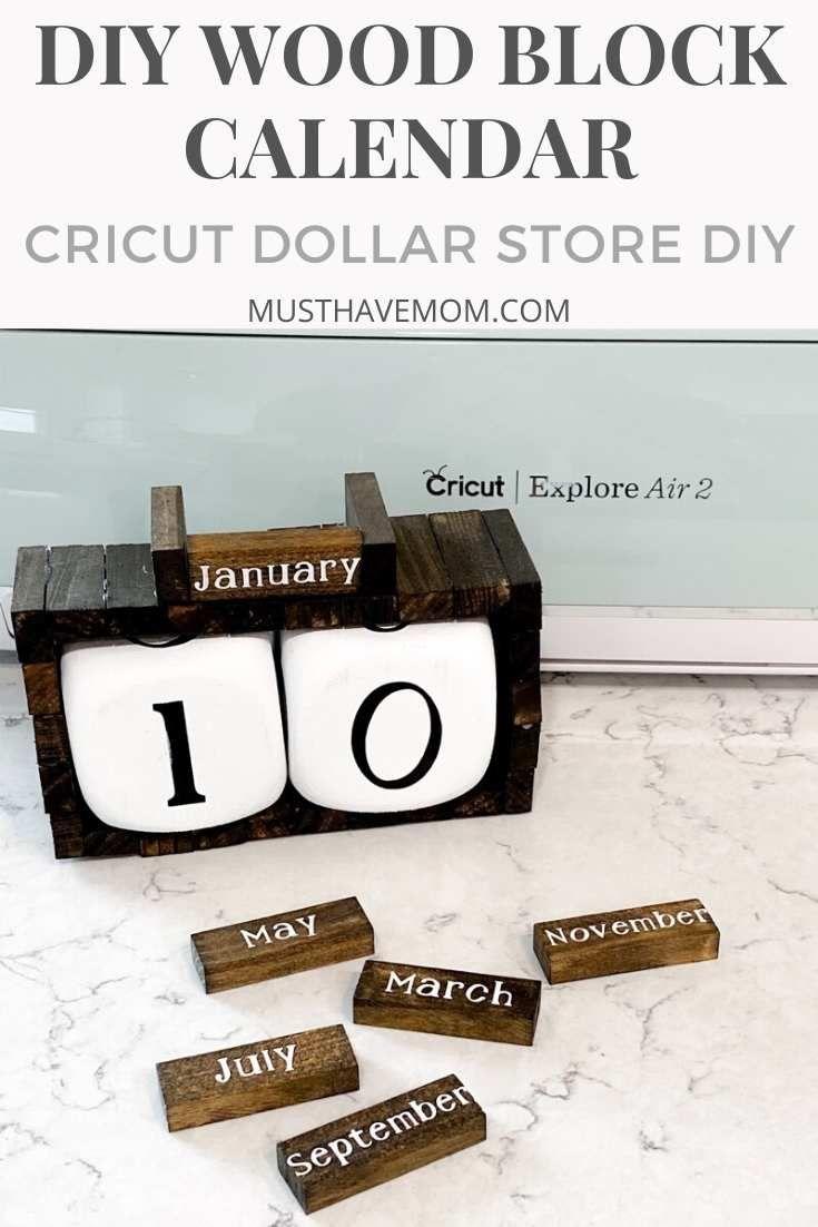 DIY Wood Block Calendar for Under $3! Cricut Craft Project