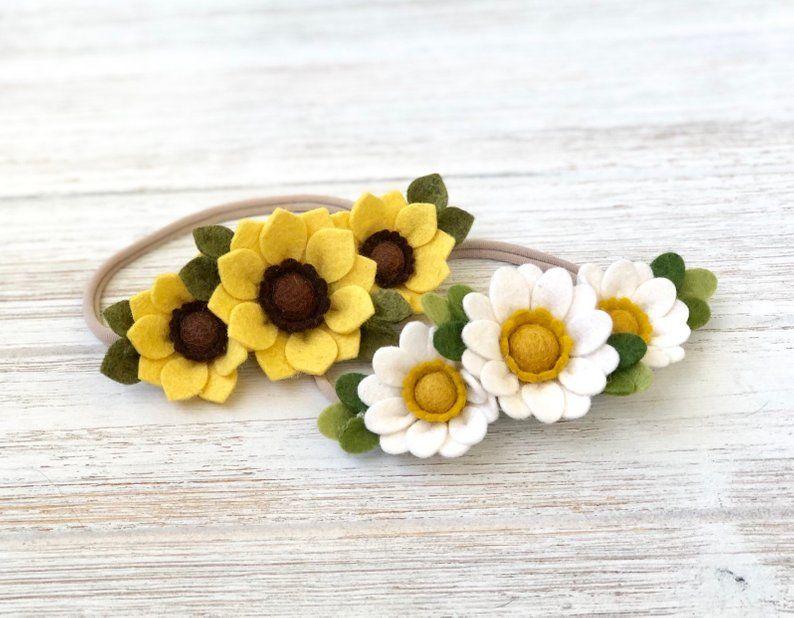 Felt Sunflower Headband, Felt Daisy Headband, Felt Flower Headband, Spring Flower Headband, Baby Headband, Toddler Headband, Easter Headband #feltflowerheadbands
