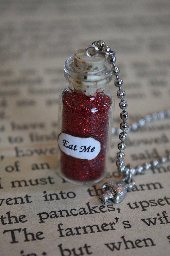 Alice in Wonderland EAT ME Bottle Pendant /& MUSHROOM Charm Fairy Dust Bottle